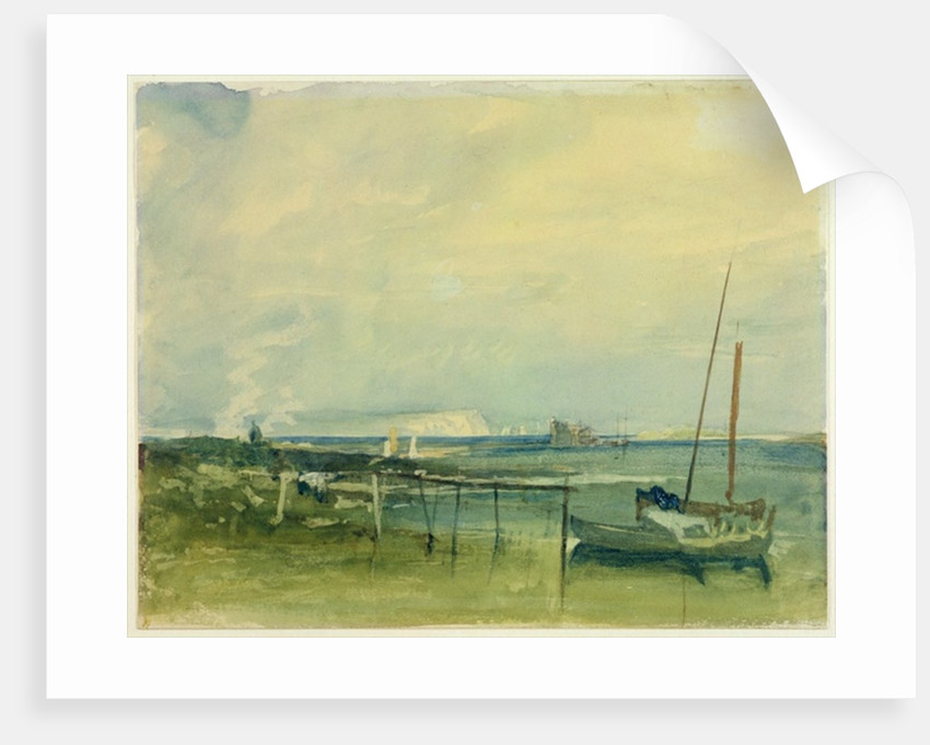Coast Scene with White Cliffs and Boats on Shore by Joseph Mallord William Turner