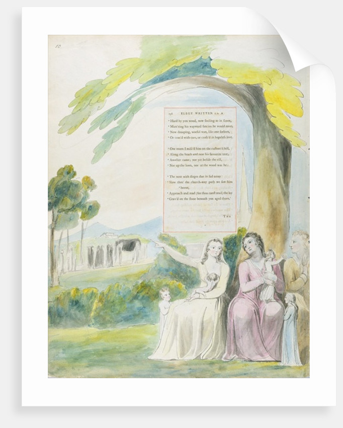 'Elegy written in a Country Church-Yard', design 114 from 'The Poems of Thomas Gray' by William Blake