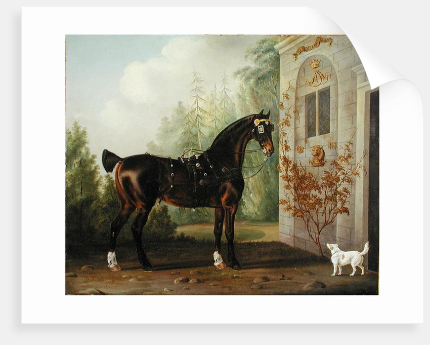 Lord Abergavenny's Dark Bay Carriage Horse with a Terrier by Thomas Gooch