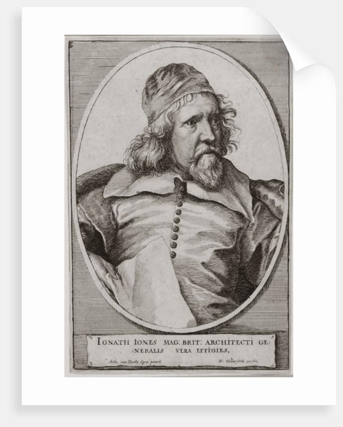 Portrait of Inigo Jones engraved by Wenceslaus Hollar by Sir Anthony van Dyck