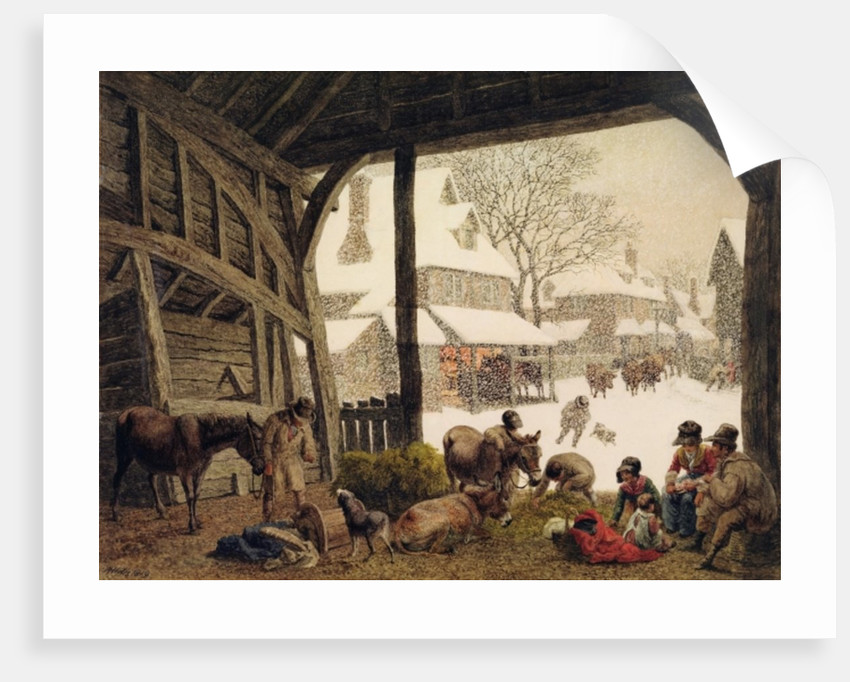 A Village Snow Scene by Robert Hills