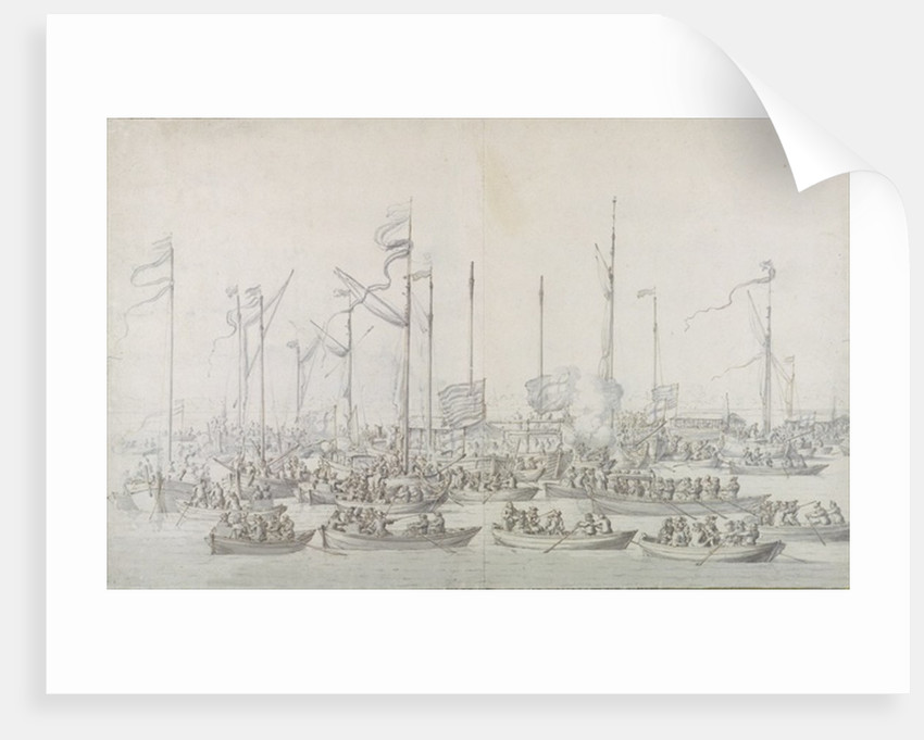 Celebration on the Thames near Whitehall, after the Coronation of James II by Willem van de