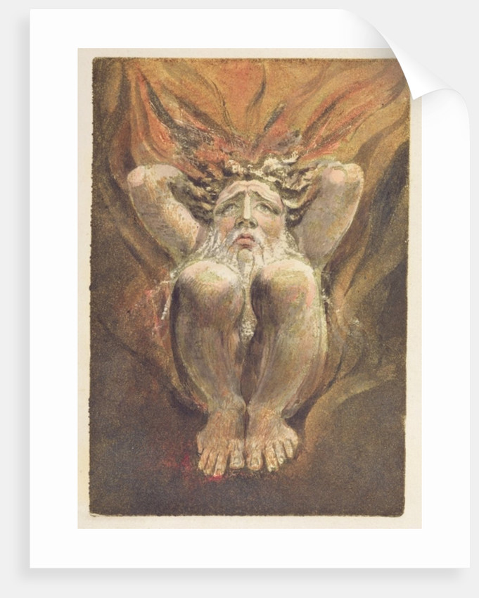 A naked man crouched in flames, with his hands behind his head by William Blake