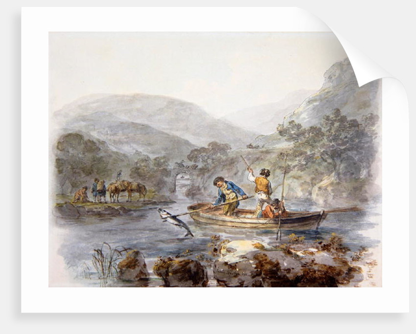 Salmon Spearing by Julius Caesar Ibbetson