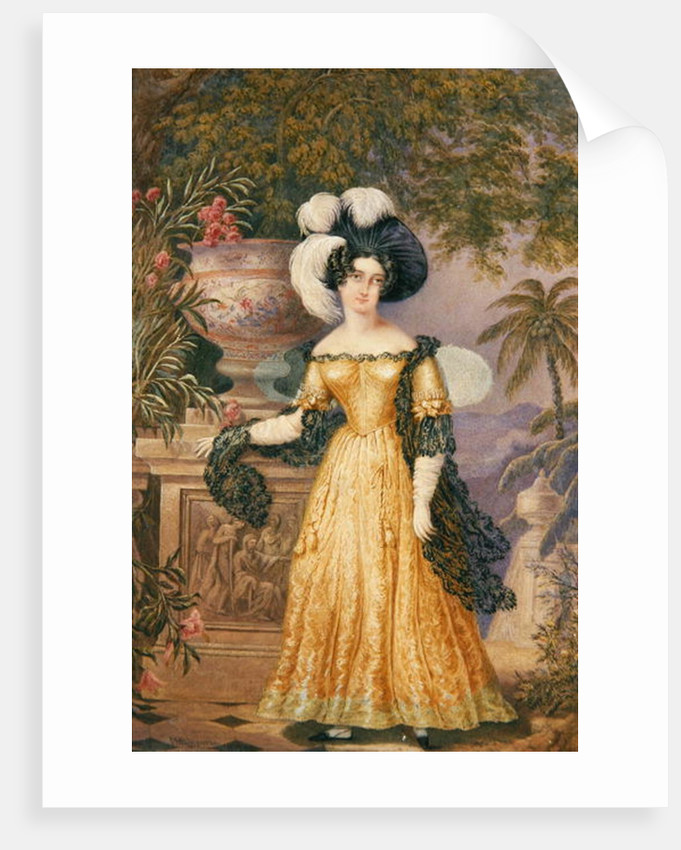 Lady Rowe, standing small full length on a terrace, a moonlit Jamaican landscape beyond by Isaac Mendes Belisario