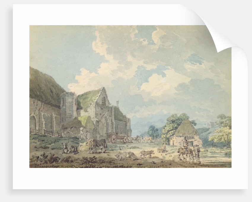 The Tithe Barn at Abbotsbury with the Abbey on the hill.. by Thomas Girtin
