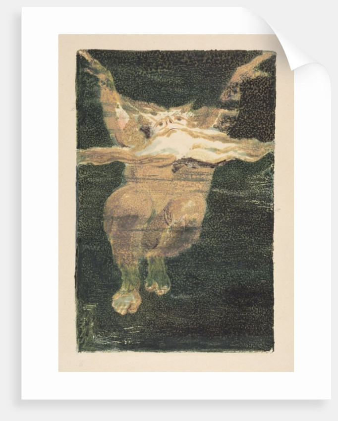 A naked man with a floating white beard by William Blake