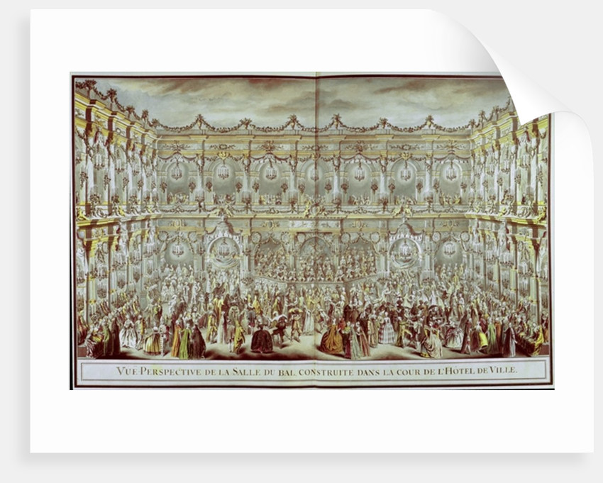 Perspective view of the ballroom constructed in the courtyard of the Hotel de Ville in Paris on the occasion of the Dauphin's first marriage to Marie-Therese Infanta of Spain by Charles Nicolas II Cochin