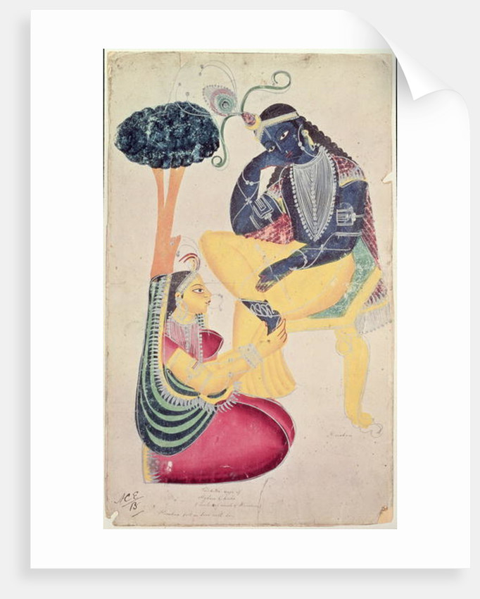 The God Krishna with his mortal love, Radha by Indian School