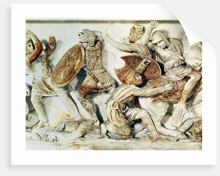 The Alexander Sarcophagus depicting a battle scene, c.325-300 BC by Greek