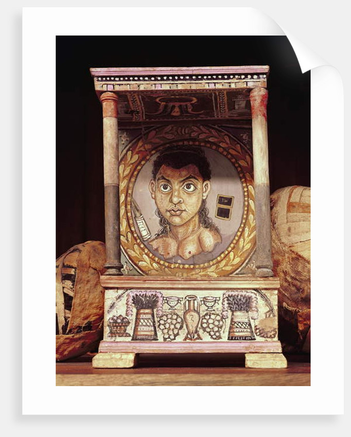Portrait of a young girl with offerings by Roman Period Egyptian