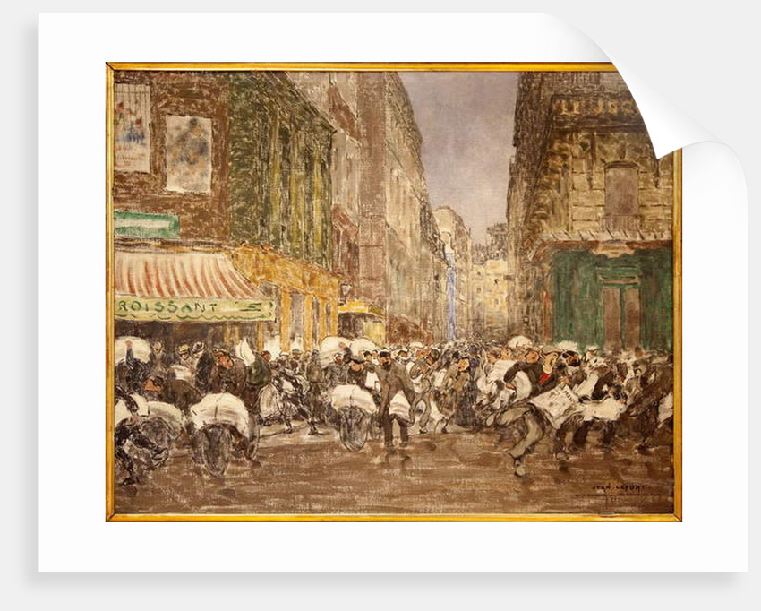 The release of the evening newspapers, rue du Croissant in 1914 by Jean-Louis Lefort