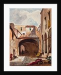 Passage and street with figures by Giacinto Gigante