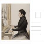Tom Pinch playing the Salisbury organ by Hablot Knight Browne