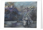 Tirpitz in Norway,1995,Oil on canvas board by Vincent Alexander Booth