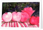 cranberry glass and pink apples by Neela Pushparaj