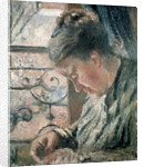 Portrait of Madame Pissarro sewing beside a Window, 19th century by Camille Pissarro