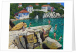Jumping into the sea,Plates, Skiathos by Andrew Macara