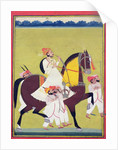 Portrait of Kumbhawat Kesari Singh of Asop, riding a horse, smoking a hookah and accompanied by attendants, Jodhpur, c.1810-20 by Indian School
