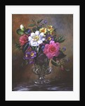AB/217 Forget-me-nots and primulas in glass vase by Albert Williams