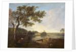 Italian River Scene with Figures by Richard Wilson