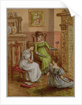 Card depicting a fireside scene by English School