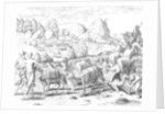 Pack Train of Llamas Laden with Silver from Potosi Mines of Peru, engraved by Theodore de Bry by Jacques Le Moyne