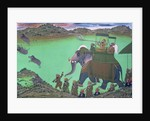 Maharana Sarup Singh of Udaipur shooting boar from elephant-back, Rajasthan by Indian School