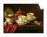 A Yixing Teapot and a Chinese Porcelain Tete-a-Tete on a Partly Draped Ledge by Pieter Gerritsz. van Roestraten