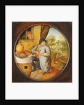 """The Man who Cuts Wood and Meat with the Same Knife"""" by Pieter the Younger Brueghel"""