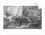 The eleven-inch forward pivot-gun on the 'Kearsarge' in action, engraved by John William Evans by Julian Oliver Davidson