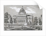 Southern view of the State House in Boston on Beacon Street by American School