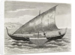 Boat of the Mortlock Islands, with outrigger and sail of rush-matting by English School