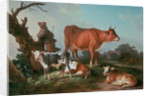 Pastoral scene with a cowherd by Jean-Baptiste Huet