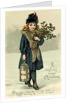 Young girl with Holly and Lantern, postcard, early 20th century by English School