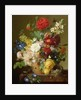 Flower Still Life on a marble ledge by Jan Frans van Dael