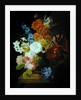 Still life of flowers in a marble urn by Peter Faes