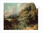 Landscape with waterfall by Joachim Franz Beich