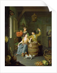 Interior with a couple celebrating by Frans van Mieris