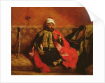 A Turk smoking sitting on a sofa by Ferdinand Victor Eugene Delacroix