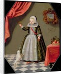 Portrait of a Young Girl with a Bird on her Finger and a Dog at her Feet by Dutch School