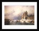 Frozen Winter Scene by Charles-Henri-Joseph Leickert