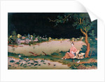 Japanese mirror painting showing a girl seated by Japanese School