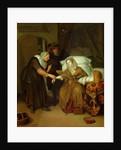 A Maid taking a lady's pulse by Richard Brackenburgh