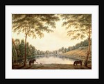 A View of the Lake and ruins of the Abbey at Painshill, Surrey by G. and Gilpin