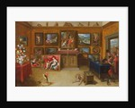Picture Gallery with a Man of Science Making Measurements on a Globe by Frans II the Younger Francken