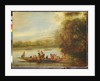 A landscape with a crowded ferry crossing the water in the foreground by Willem Schellinks