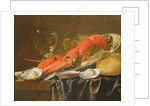 Still life with lobster, shrimp, roemer, oysters and bread by Christiaan Luykx or Luycks