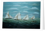Regatta off the Long Sand Lightship, Primitive School by Anonymous