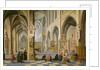 Church interior, with people at prayer in the foreground and a small procession in the main aisle by Bartolomeus van Bassen